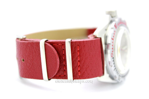 NATO Red Leather Watch Strap For Vostok Watches