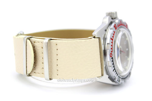 NATO White Leather Watch Strap For Vostok Watches