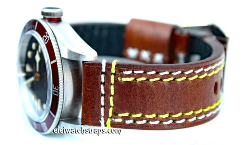 22mm Brown Leather watch strap Double Stitched For Bell & Ross Watches