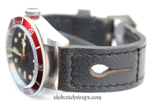 22mm Gray Leather watch strap Double Stitched For Tudor Watches
