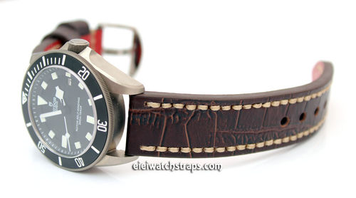 Handmade Brown Alligator Watch Strap White Stitched For Tudor Watches