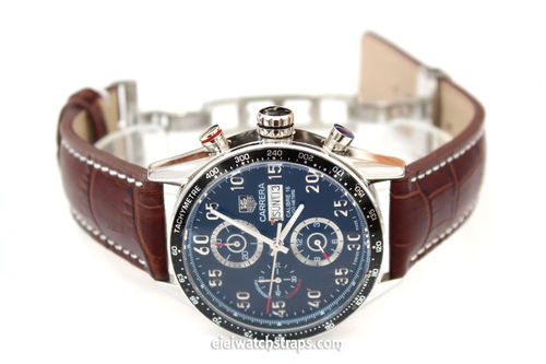 Matt Brown Alligator Grain Padded Leather Watch Strap For Tag Heuer Carrera