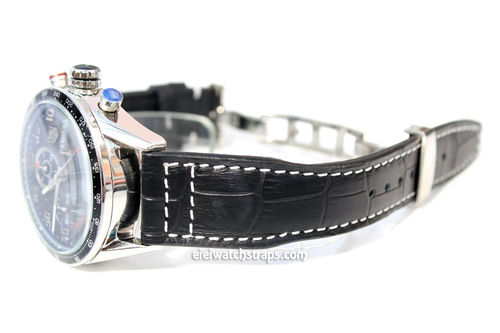 Aviator Hand Made 22mm Black Alligator watch strap on Deployment Clasp FOr TAG Heuer Carrera