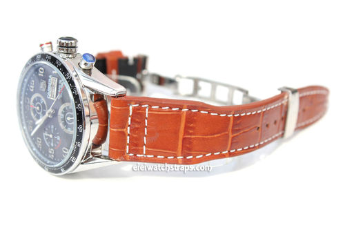 Aviator Hand Made 22mm Brown Alligator watch strap on Deployment Clasp FOr TAG Heuer Carrera
