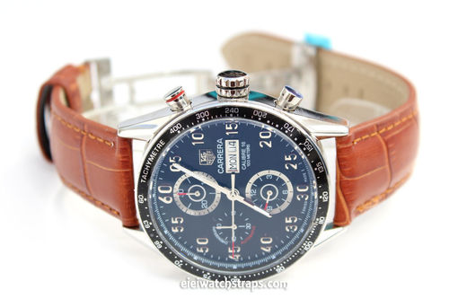 Classic Brown Crocodile Grain Leather Watch Strap on Deployment Clasp For TAG Heuer Carrera