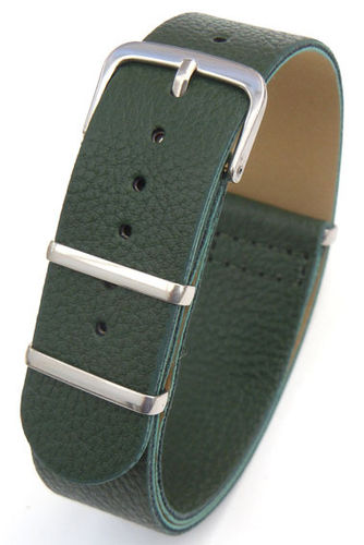 NATO Green Leather Watch Strap For TAG Heuer Carrera