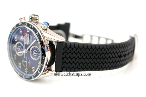 Tyre Tread Rubber Watch Strap Deployment Clasp  For Tag Heuer Carrera