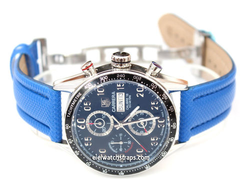 Blue Polyurethane Waterproof watch strap with Deployment Clasp Tag Heuer Carrera