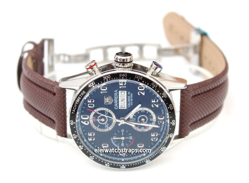 BrownPolyurethane Waterproof watch strap with Deployment Clasp Tag Heuer Carrera