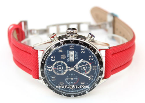 Red Polyurethane Waterproof watch strap with Deployment Clasp Tag Heuer Carrera