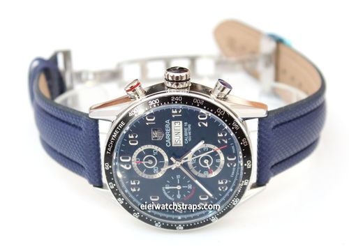 Navy Polyurethane Waterproof watch strap with Deployment Clasp Tag Heuer Carrera
