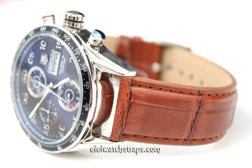 Brown crocodile Watch Strap For Tag Heuer Carrera