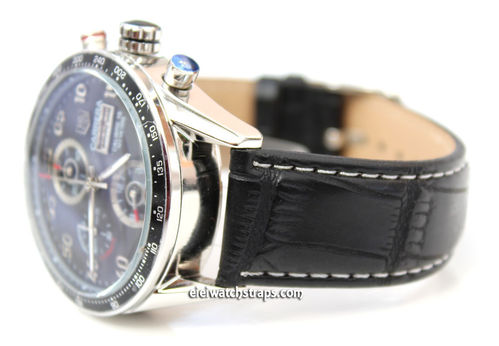 Black crocodile Watch Strap White Stitched For Tag Heuer Carrera