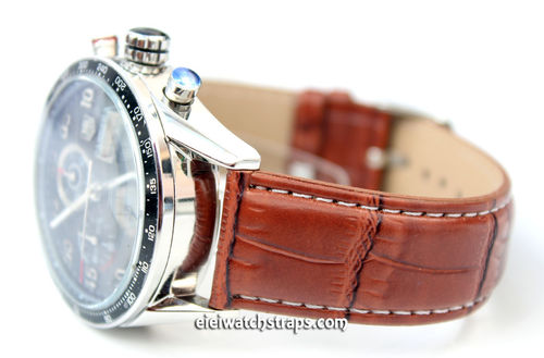 Brown crocodile Watch Strap White Stitched For Tag Heuer Carrera