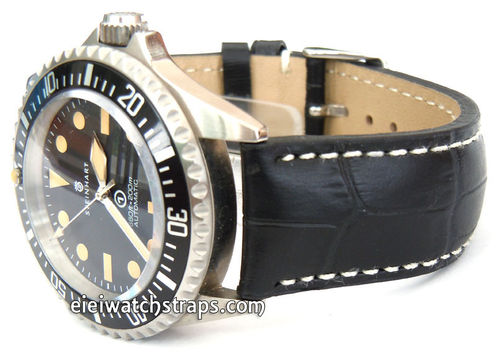 Black Alligator Grain Padded Leather Watchstrap For Steinhart Watches