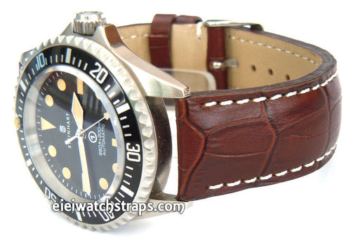 Brown Alligator Grain Padded Leather Watchstrap For Steinhart Watches