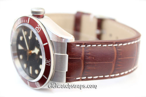 Alligator Grain Padded Leather Watchstrap For Tudor Black Bay Watches