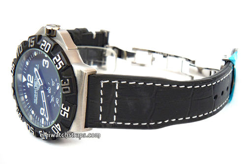 Aviator Hand Made 22mm Black Alligator watch strap on Deployment Clasp For TAG Heuer Formula 1