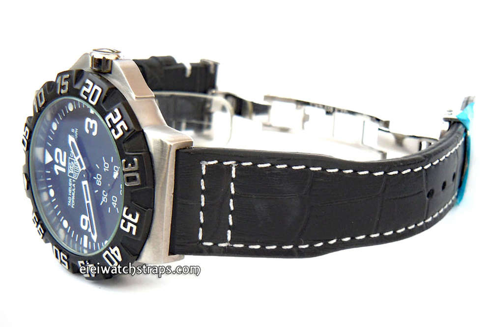 e8026590f660 Aviator Hand Made 22mm Black Alligator watch strap on Deployment Clasp For TAG  Heuer Formula 1