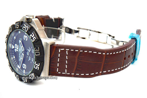 Aviator Hand Made 22mm Dark Brown Alligator watch strap on Deployment Clasp For TAG Heuer Formula 1