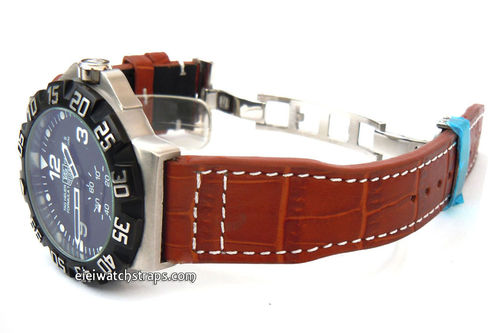 Aviator Hand Made 22mm Brown Alligator watch strap on Deployment Clasp For TAG Heuer Formula 1