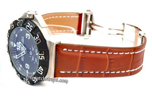 Deployment Black Crocodile Leather Watch Strap for TAG Heier F1