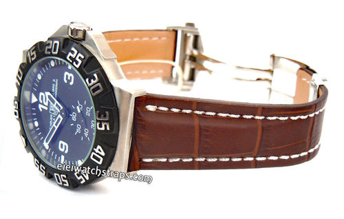 Deployment Brown Crocodile Leather Strap Deployment Black Crocodile Leather Watch Strap