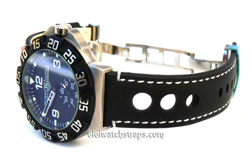 Grand Prix Black Leather Watch strap on Deployment Clasp For TAG Heuer F1