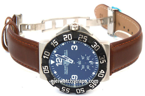 Dark Brown 22mm Crocodile Grain Leather Watch Strap For TAG Heuer