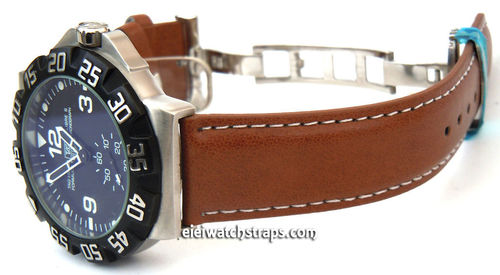 Brown Leather Watch strap on butterfly deployant clasp White Stitched For TAG Heuer F1