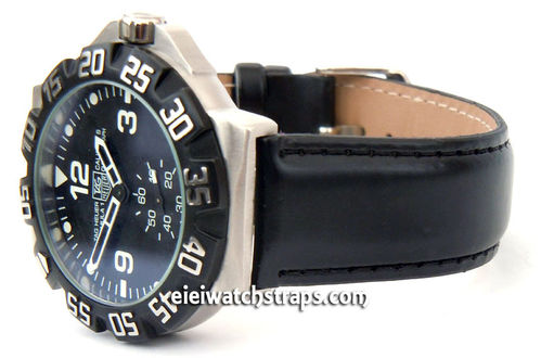 Black Leather Watch strap For TAG Heuer F1