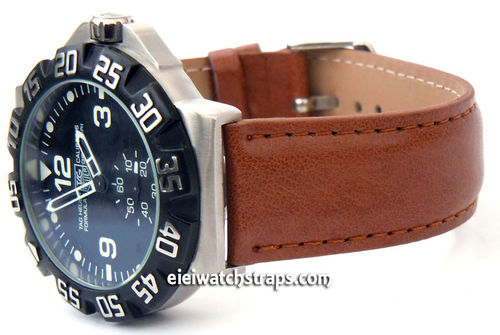 Brown Leather Watch strap For TAG Heuer F1