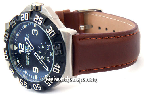 Dark Brown Leather Watch strap For TAG Heuer F1