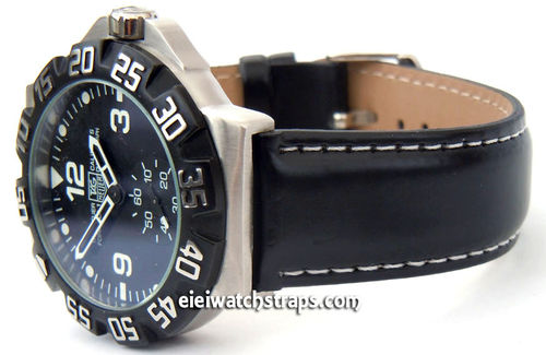 Black Leather Watch Strap White Stitched For TAG Heuer F1
