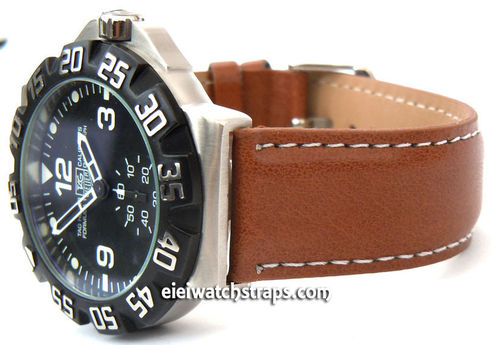 Brown Leather Watch Strap White Stitched For TAG Heuer F1