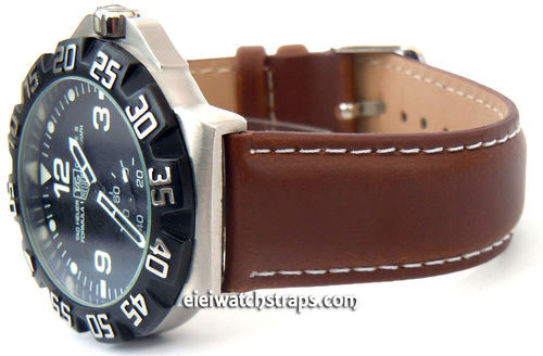 Dark Brown Leather Watch Strap White Stitched For TAG Heuer F1