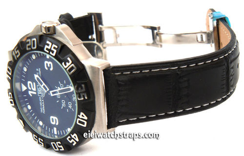 Black crocodile Watch strap on butterfly deployant clasp White Stitched For TAG Heuer F1