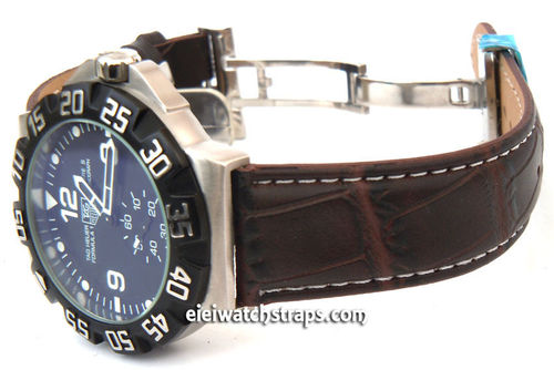 Dark Brown crocodile Watch strap on butterfly deployant clasp White Stitched For TAG Heuer F1