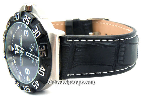 Black crocodile Watch strap White Stitched For TAG Heuer F1