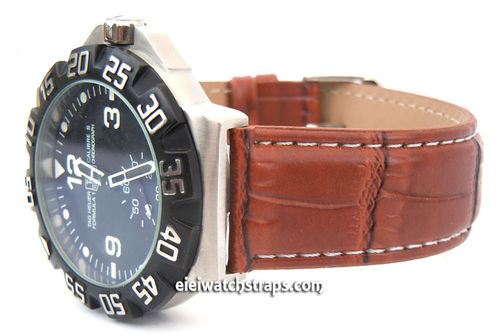 Brown crocodile Watch strap White Stitched For TAG Heuer F1