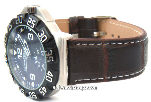 Dark Brown crocodile Watch strap White Stitched For TAG Heuer F1