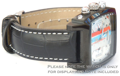 Matt Black Alligator Grain Padded Leather Watch Strap For TAG Heuer Monaco