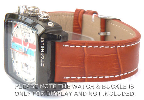 Matt Brown Alligator Grain Padded Leather Watch Strap For TAG Heuer Monaco