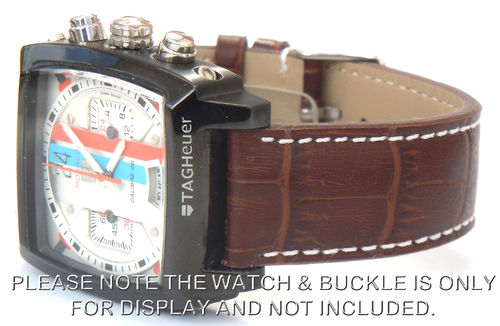 Matt Dark Brown Alligator Grain Padded Leather Watch Strap For TAG Heuer Monaco