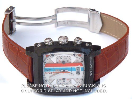 Genuine TAG Heuer Brown Crocodile Watch Strap for Deployment Clasp For TAG Heuer Monaco