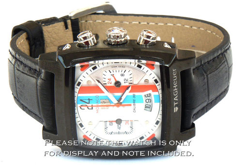Classic Black Crocodile Grain Leather Watch Strap For TAG Heuer Monaco