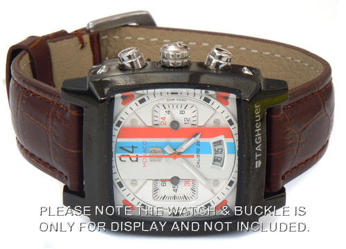 Classic Brown Crocodile Grain Leather Watch Strap For TAG Heuer Monaco