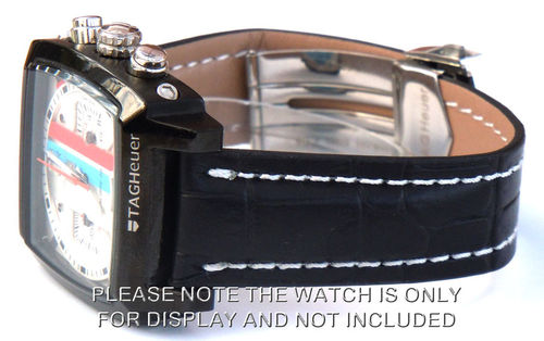 Deployment Black Crocodile Leather Strap For TAG Heuer Monaco