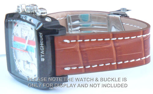 Deployment Brown Crocodile Leather Strap For TAG Heuer Monaco