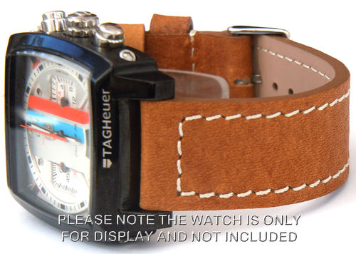Double Thickness Cut Edge Saddle Brown Leather Watch Strap For TAG Heuer Monaco